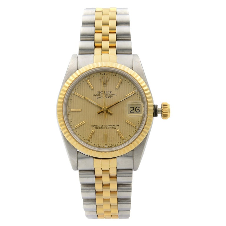 Rolex Datejust Steel 18 Karat Yellow Gold Champagne Dial Midsize Watch 68273 For Sale