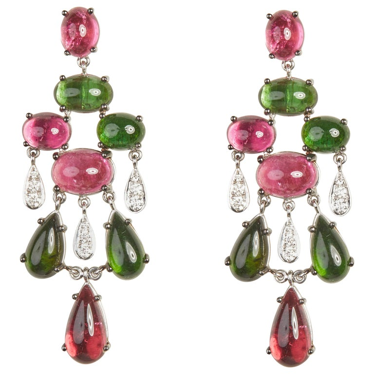 18 Karat White Gold Diamond and Tourmaline Dangle Earrings For Sale