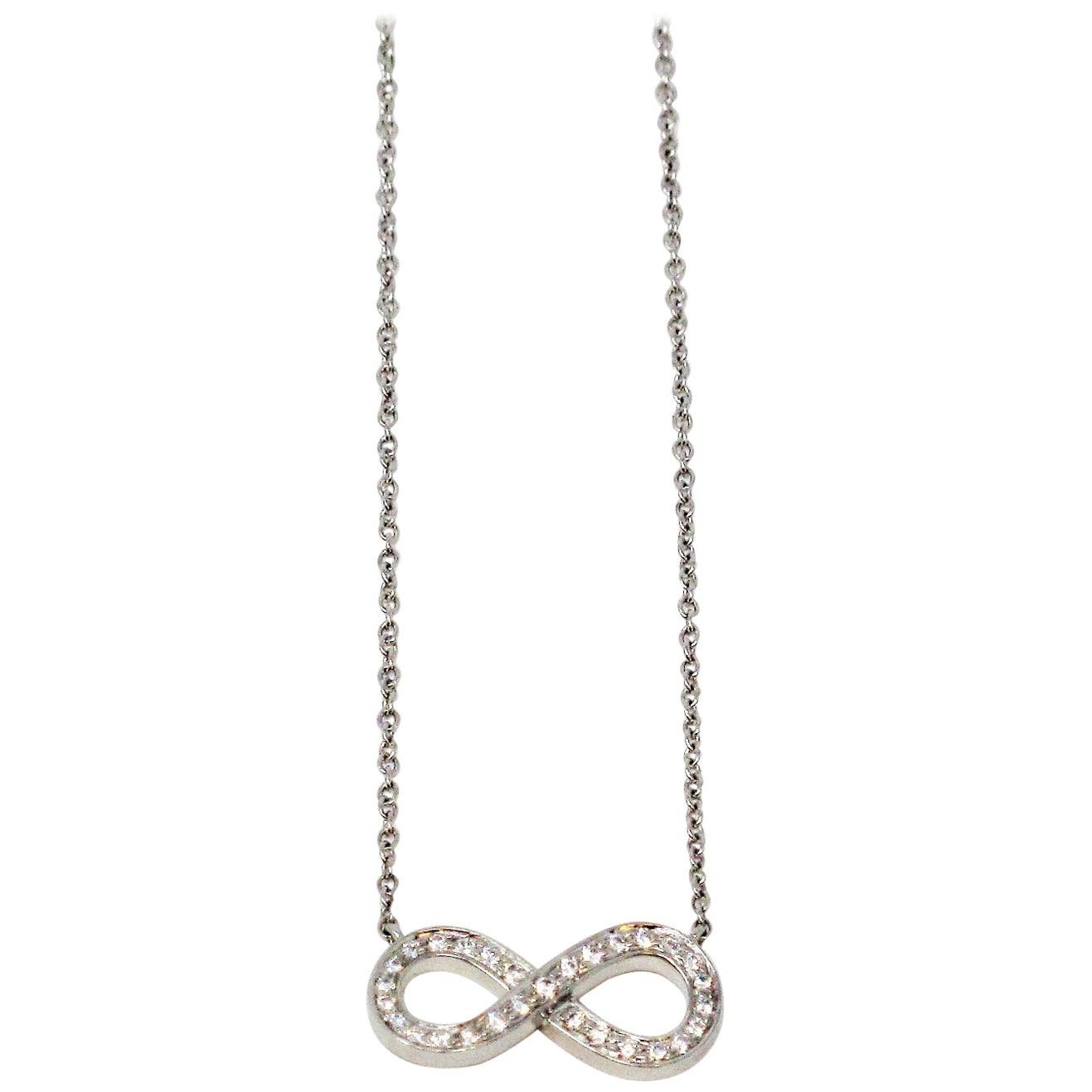 Tiffany & Co. Pave Diamond Infinity Pendant Necklace in Platinum