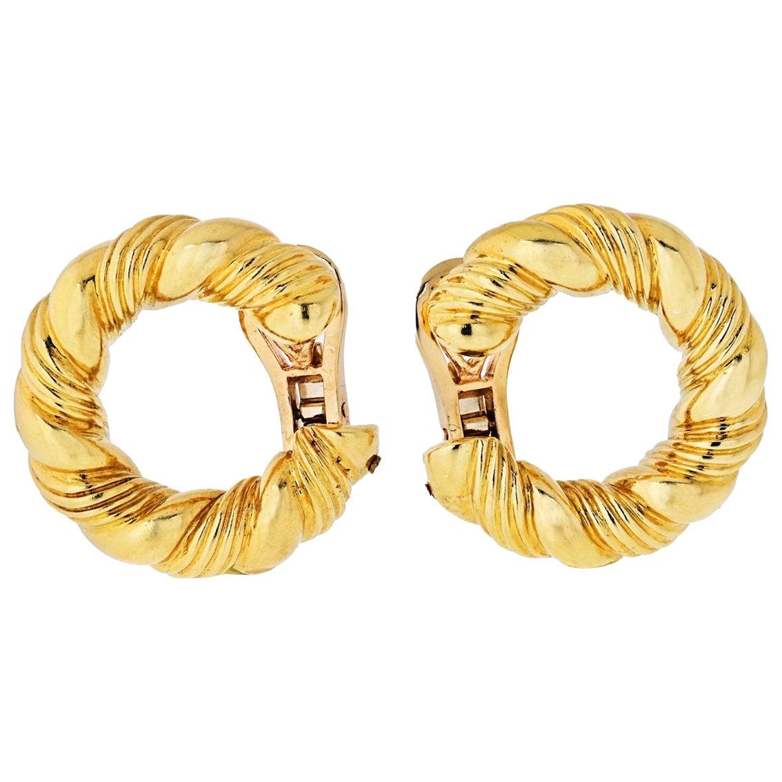 Van Cleef & Arpels 1970s 18 Karat Yellow Gold Twisted Hoop Earrings