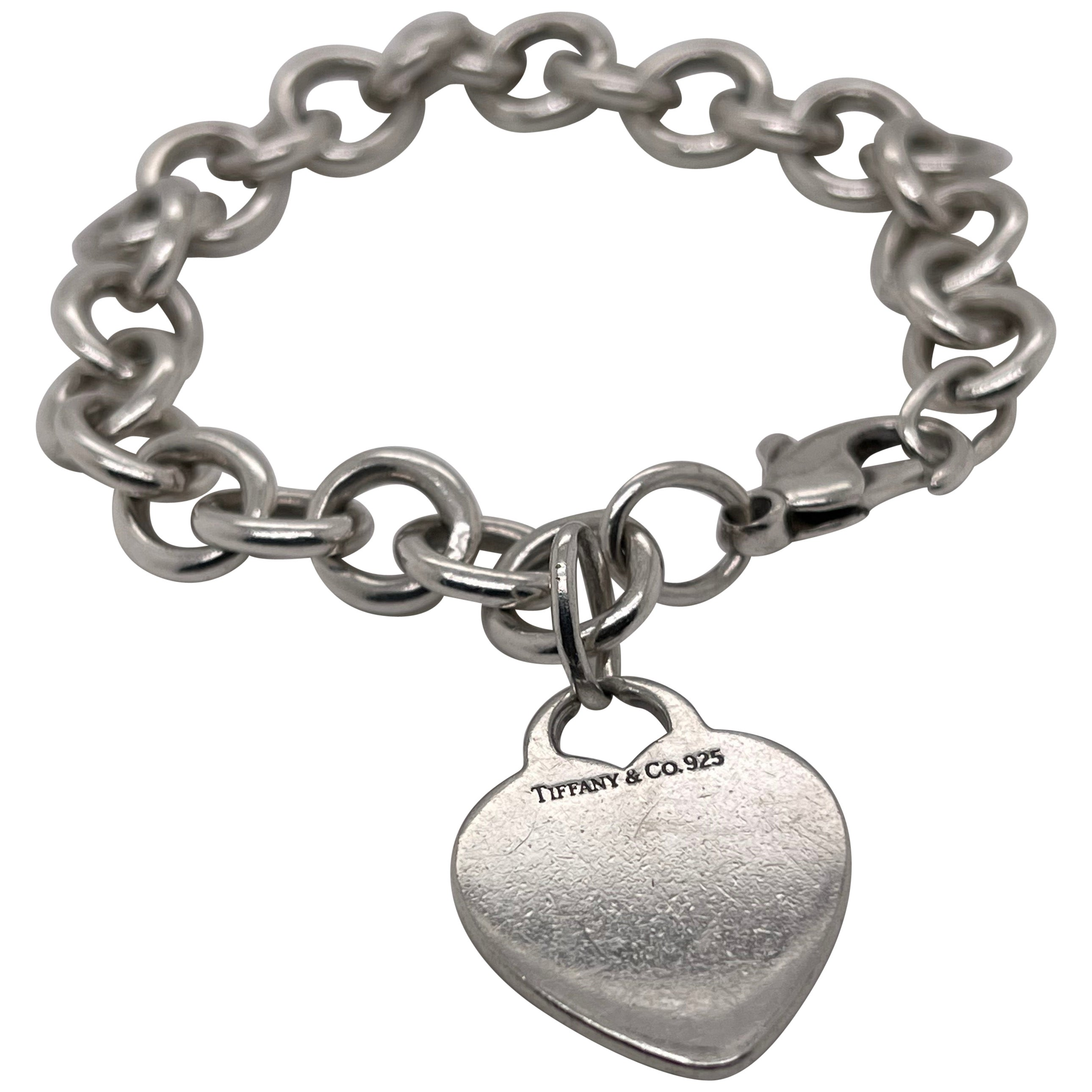 Tiffany & Co. Sterling Silver Dog Chain Link Bracelet and Heart Pendant