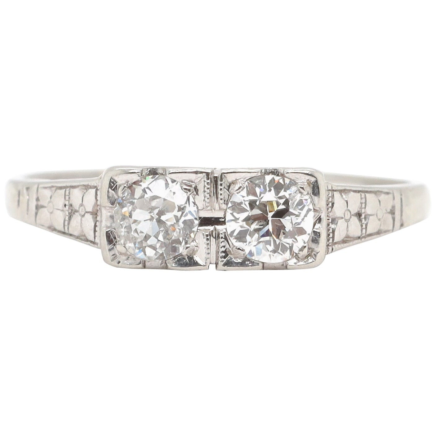 Art Deco Toi et Moi Old European Cut Diamond Platinum Ring