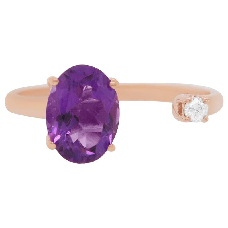 Oval Purple Amethyst 14 Karat Rose Gold Round Diamond Toi et Moi Ring