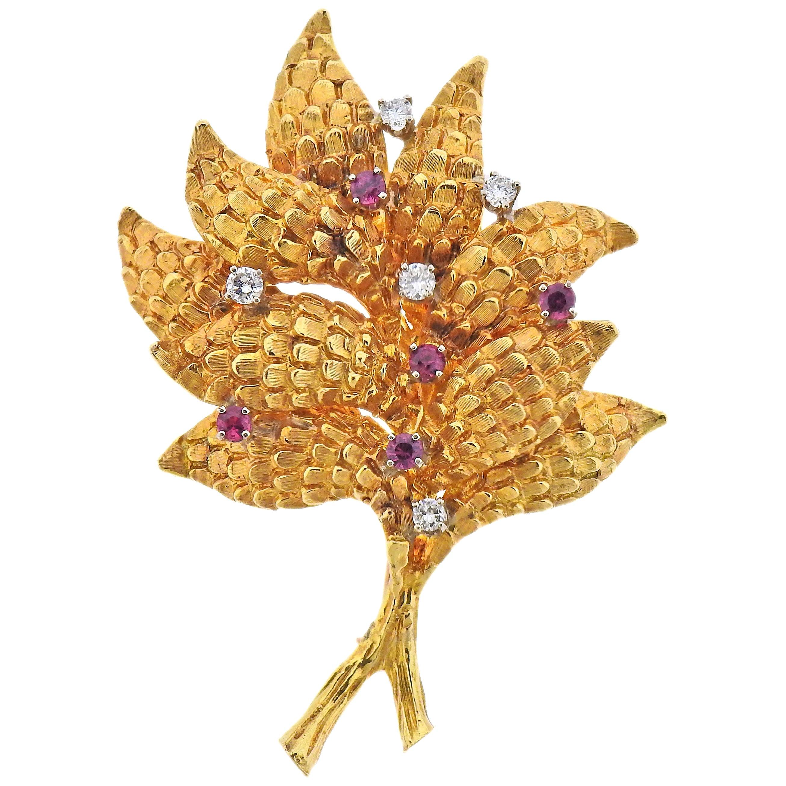 Ruby Diamond Gold Brooch Pin