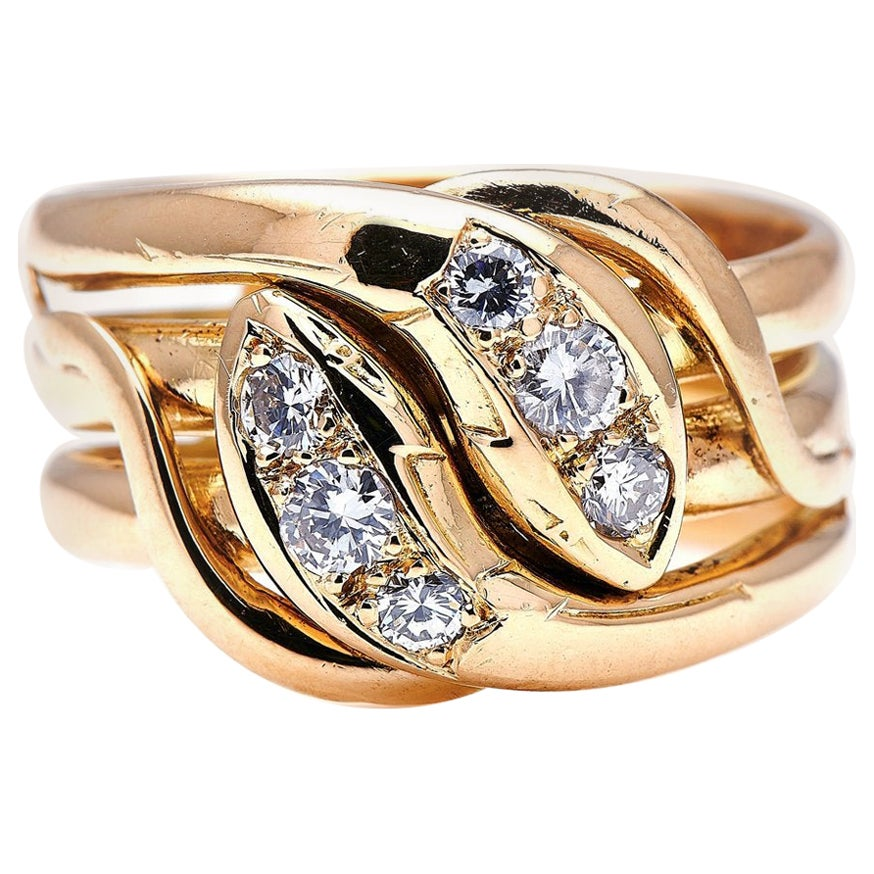 Antique, Victorian, French, 18 Carat Gold, Diamond Snake Ring