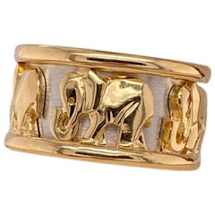 Cartier 18 Karat Yellow and White Gold Elephant Ring