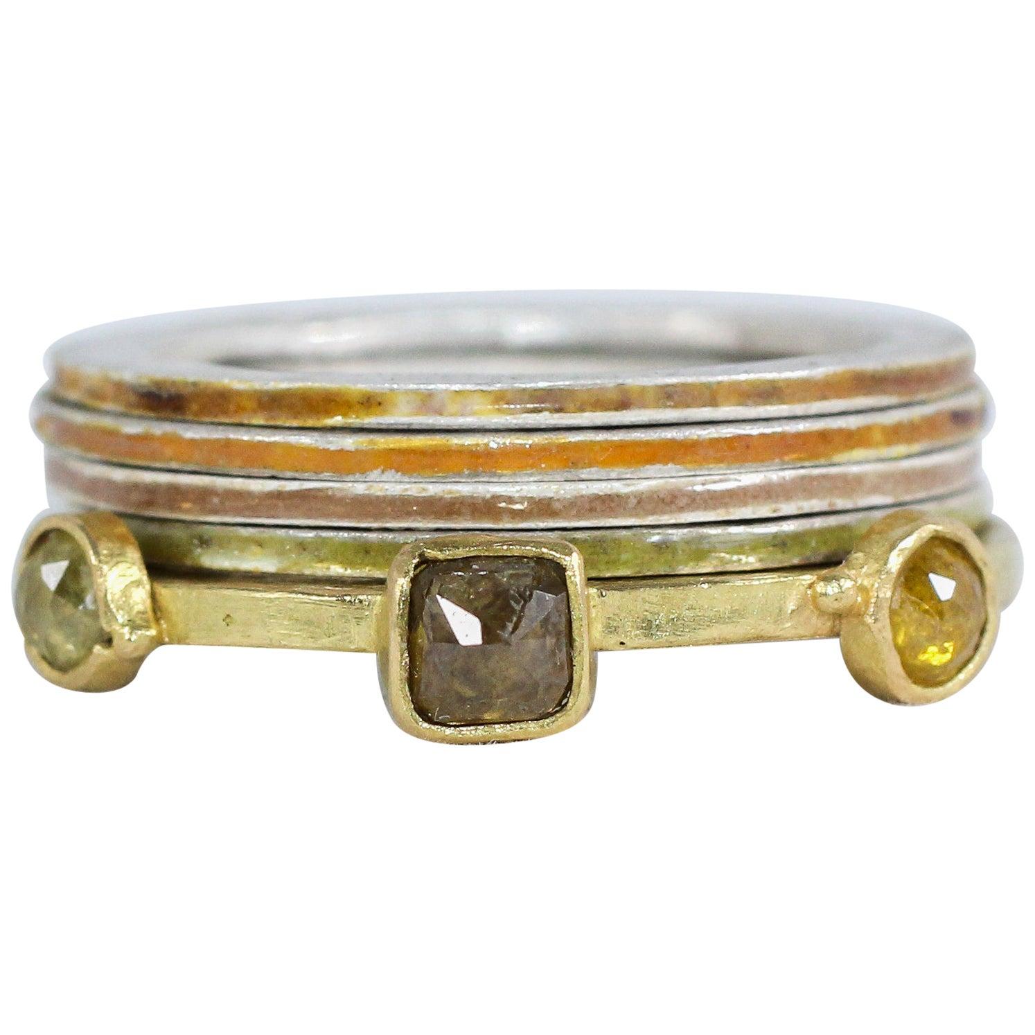 Fancy Color Diamonds Three-Stone 18 Karat Gold Enamel Silver Engagement Ring