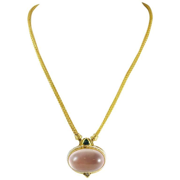 Pink Quartz Tourmaline Diamond gold Necklace 1