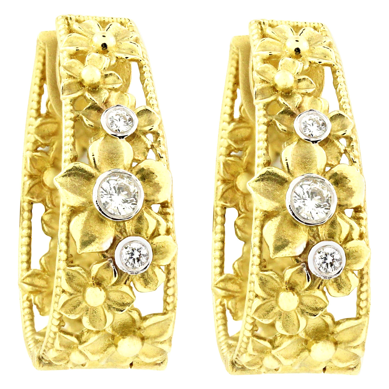 Yellow Gold and Diamond Hoop Flower Earrings Stambolian
