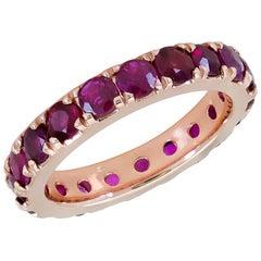 4.51 Carat Round Ruby Eternity Wedding Band in 18 Karat Rose Gold