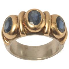 Sapphire Sterling Silver Gold Three Stone Ring
