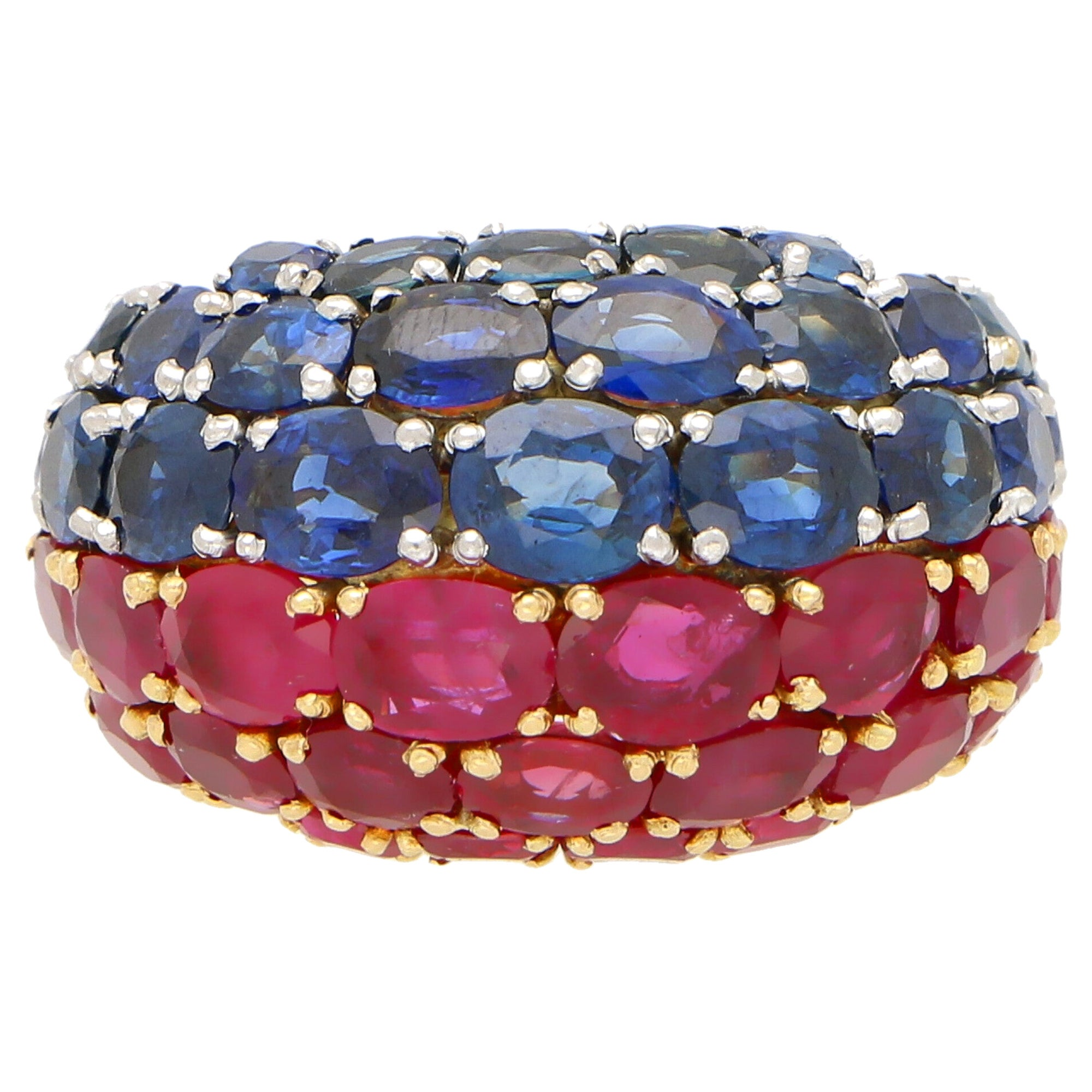 Ruby and Sapphire Bombe Ring Set in 18 Karat Yellow Gold and Platinum