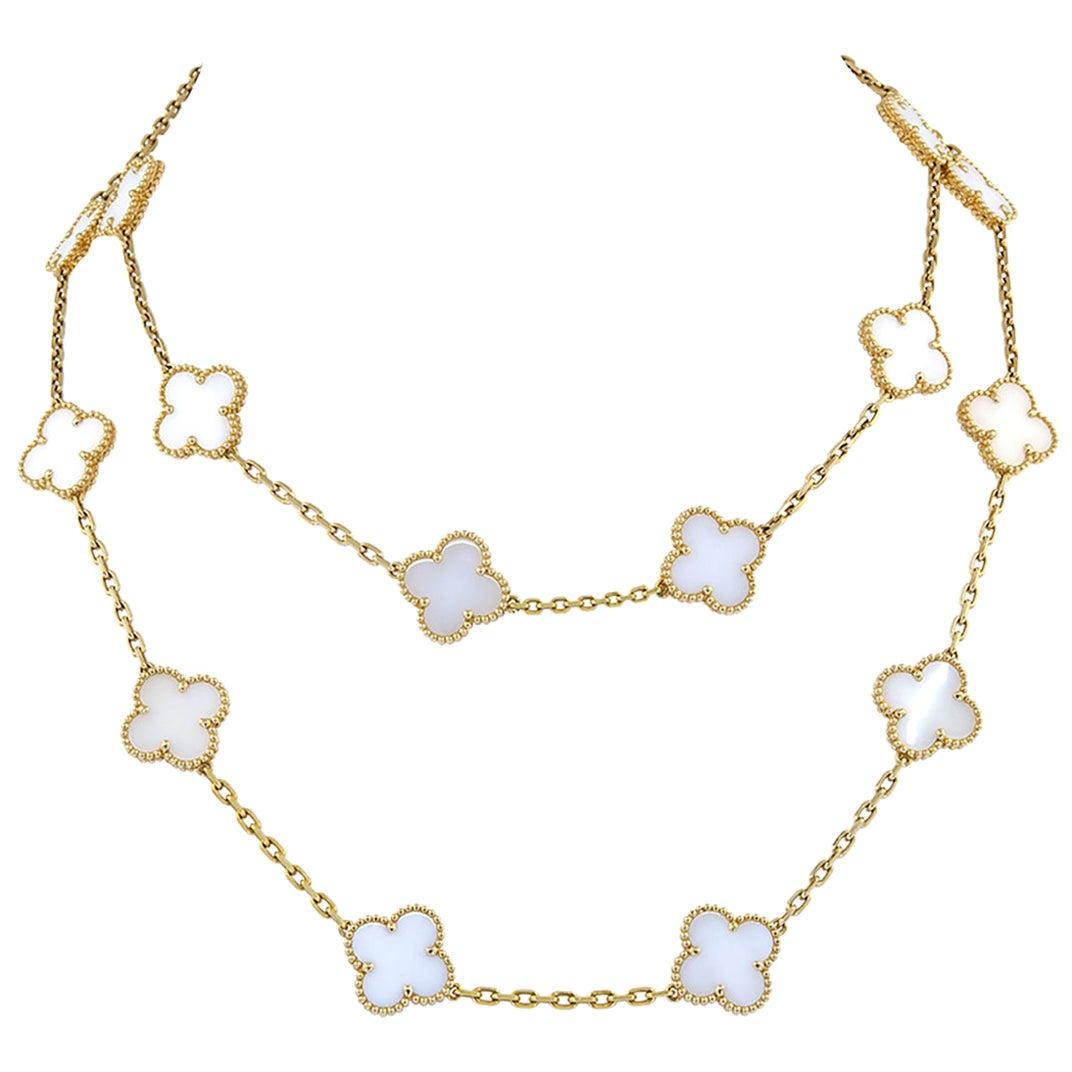 Van Cleef & Arpels 20 Motif Vintage Alhambra Coral Necklace
