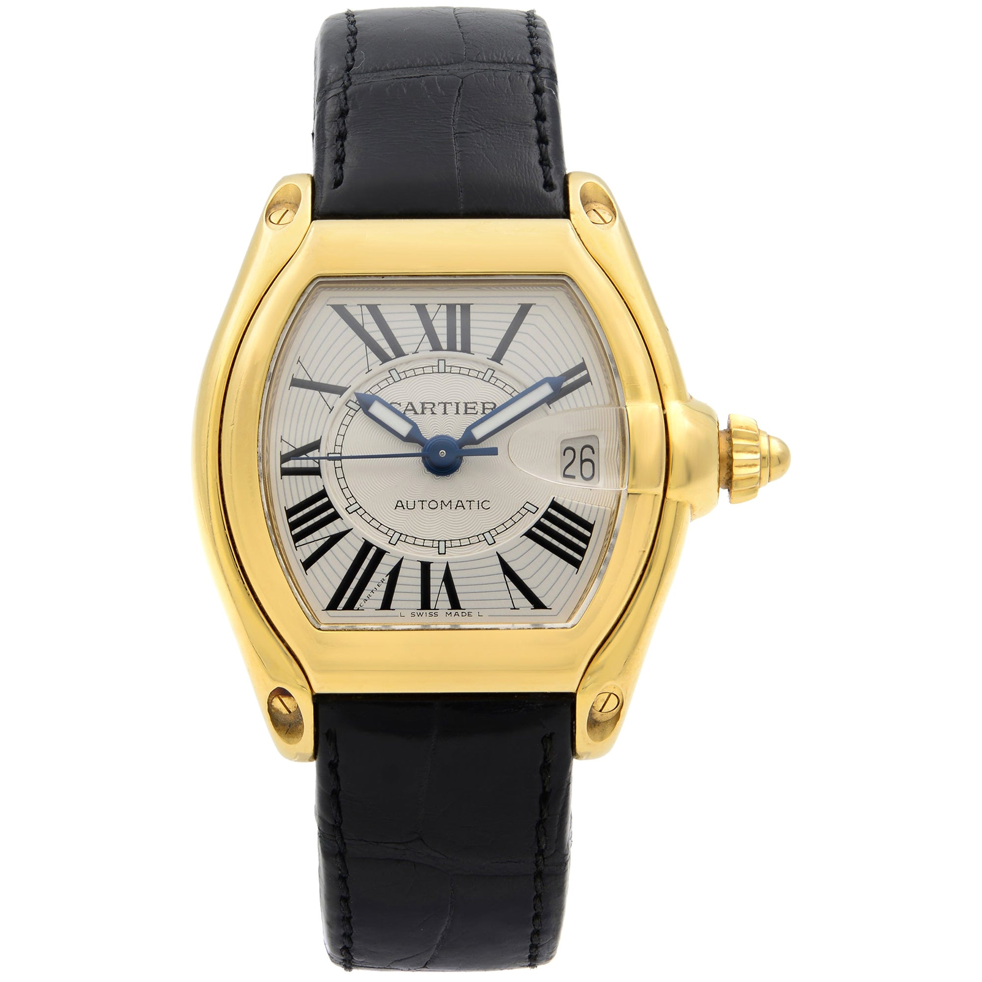 Cartier Roadster 18K Yellow Gold Silver Guilloche Automatic Men's Watch W62005V2