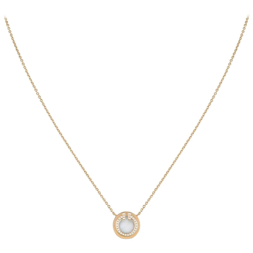 Tiffany & Co. Rose Gold and Diamond Circle Tiffany T Pendant