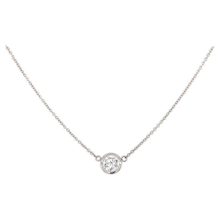 Solitaire Diamond Pendant Necklace For Sale