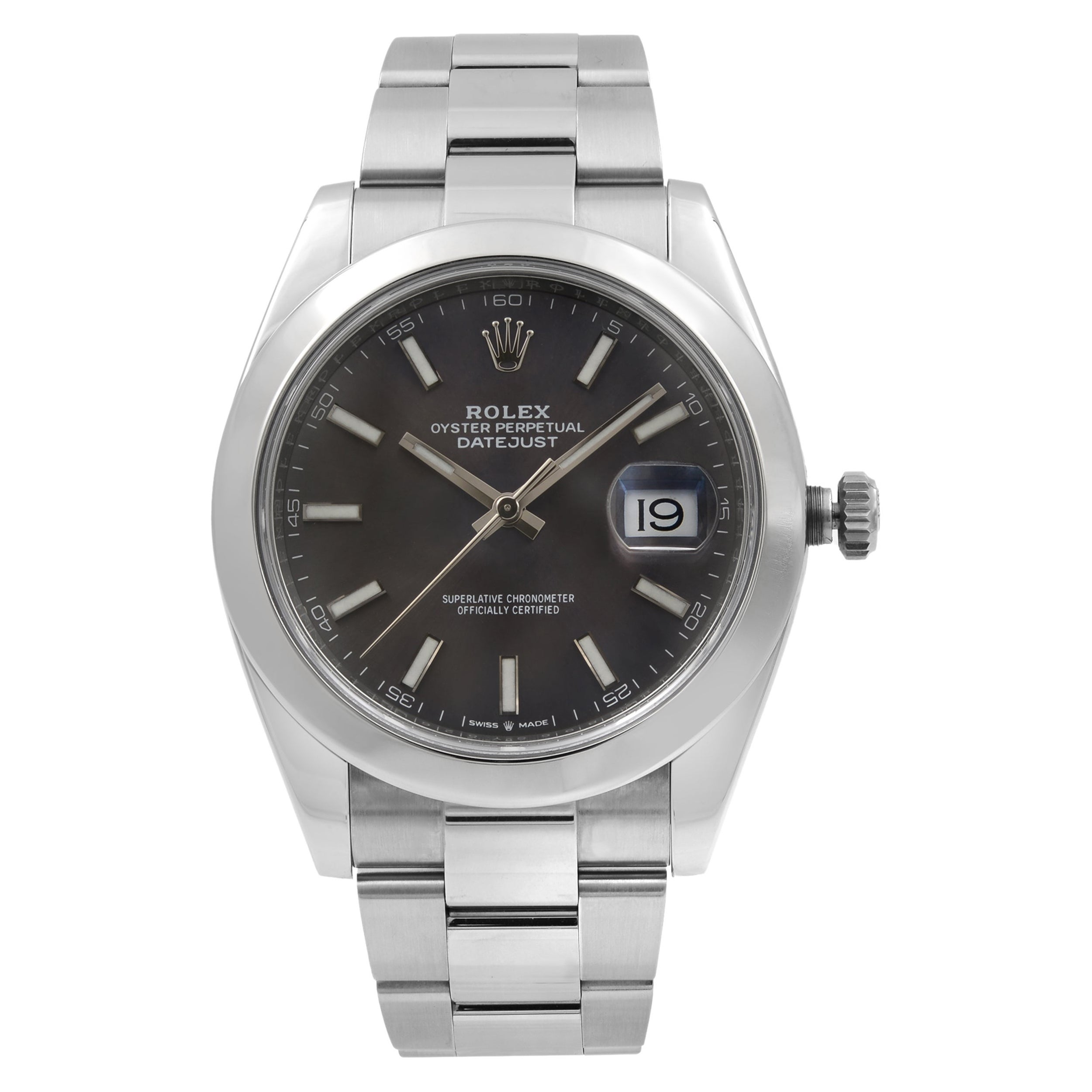 Rolex Datejust 41 Steel Dark Rhodium Dial Automatic Men's Watch 126300