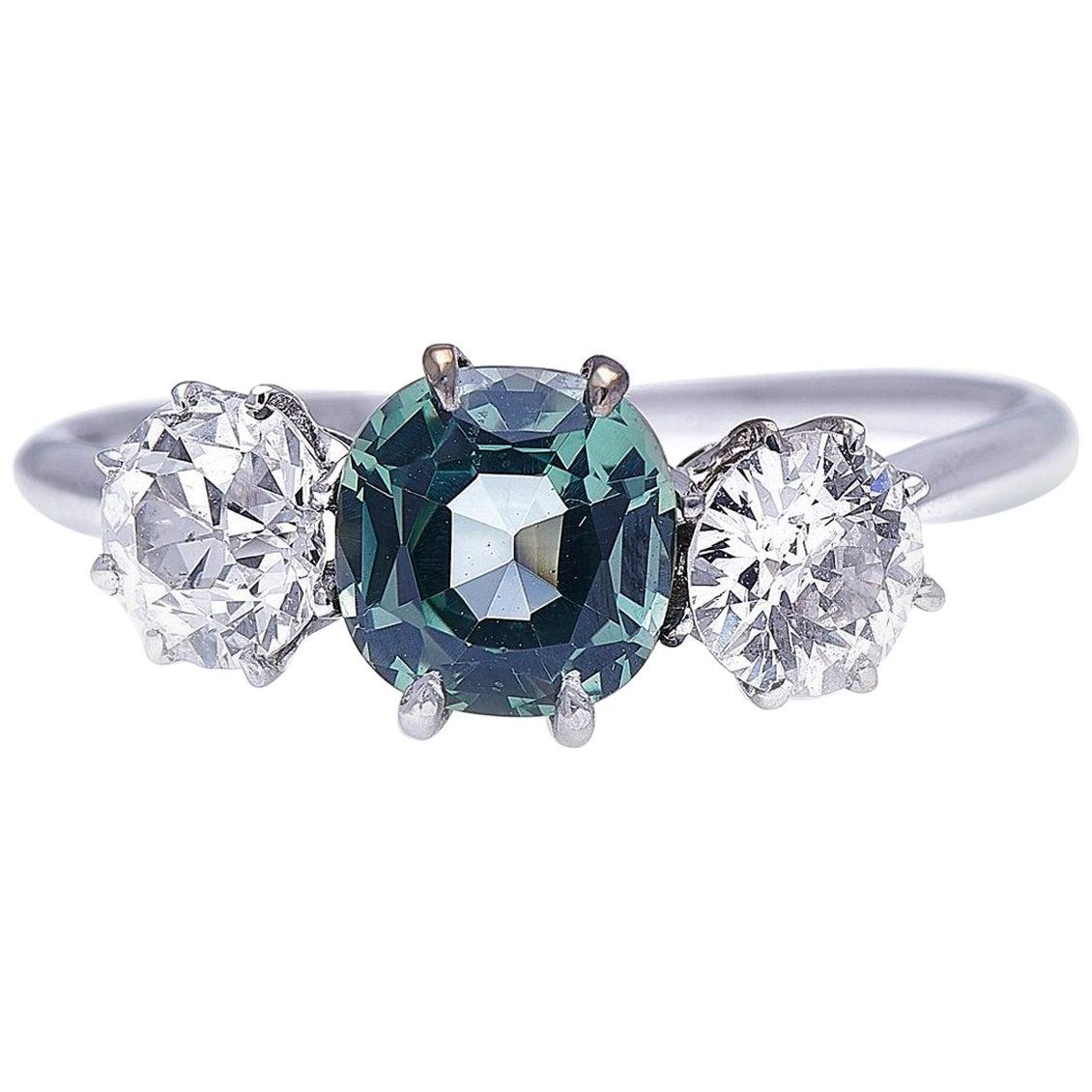 Antique, Art Deco, Platinum, Green Sapphire and Diamond Three-Stone Ring