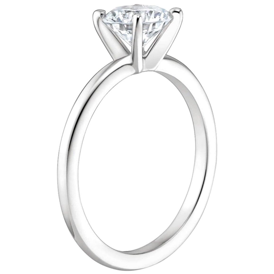 1 Carat Diamond Traditional Engagement Ring 14 Karat White Gold