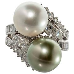 South Sea Pearl and Tahitian Pearl Diamond platinum Cocktail Ring