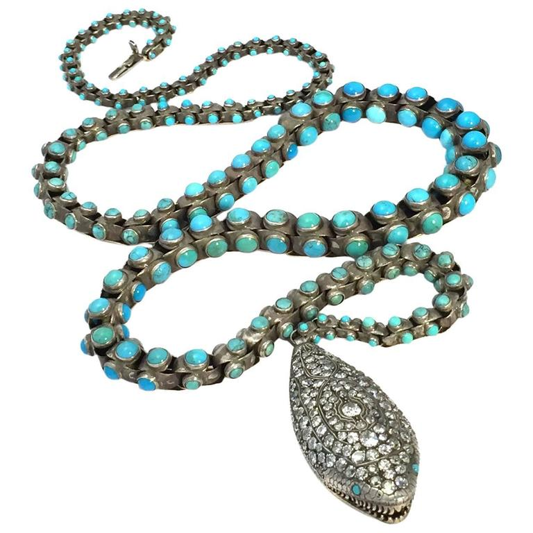 Victorian Turquoise & DIamond Snake Belt/Necklace