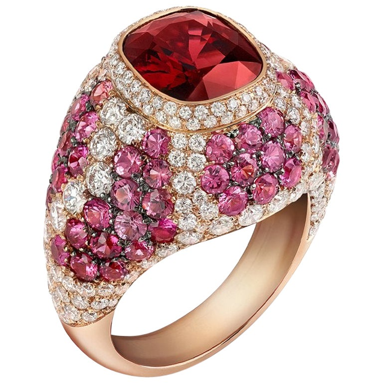 18 Karat Rose Gold 2.6 Carat Red Spinel Cocktail Ring with Sapphire and Diamond