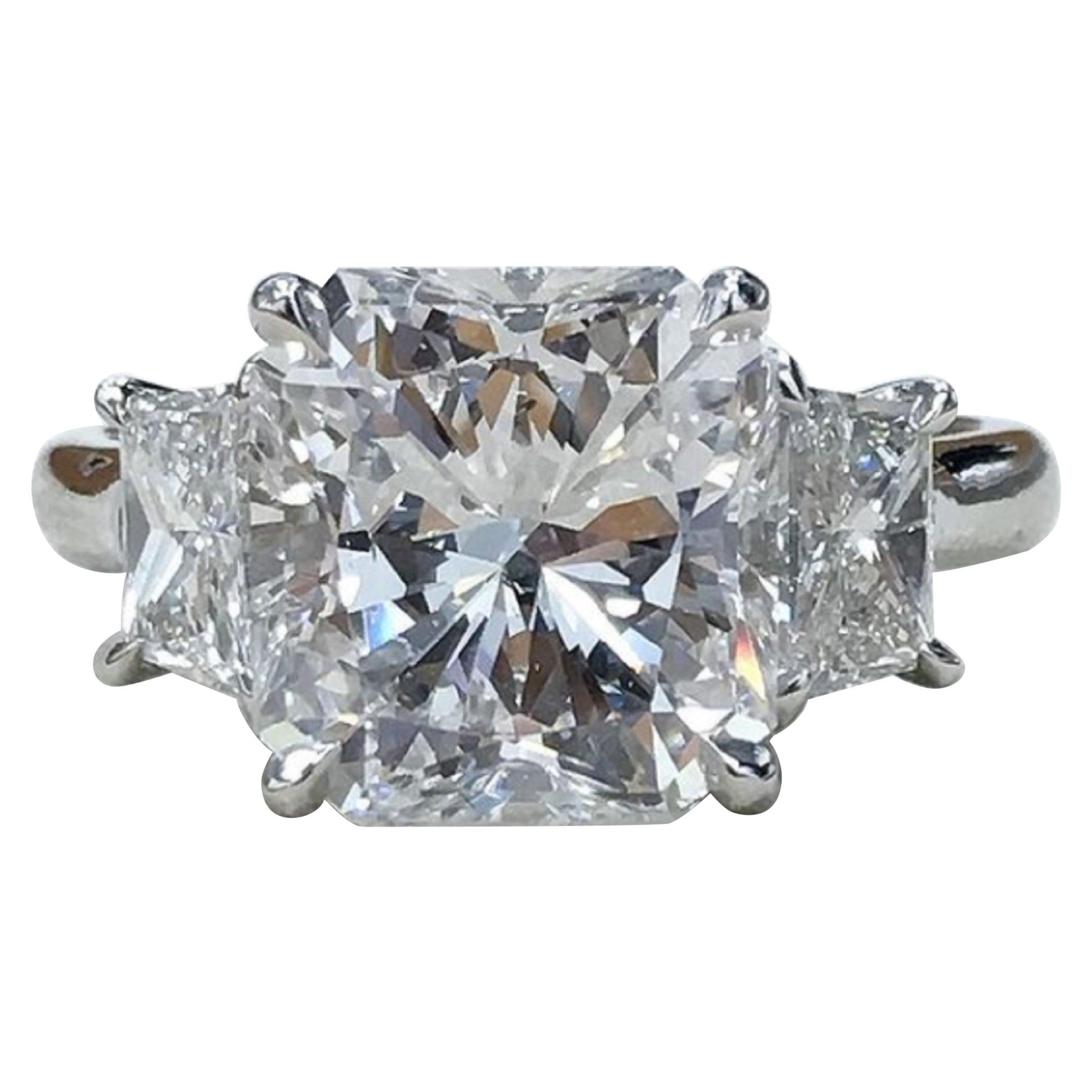 GIA Certified 2.50 Carat Radiant Cut Diamond Ring VVS1 F Triple Excellent Cut