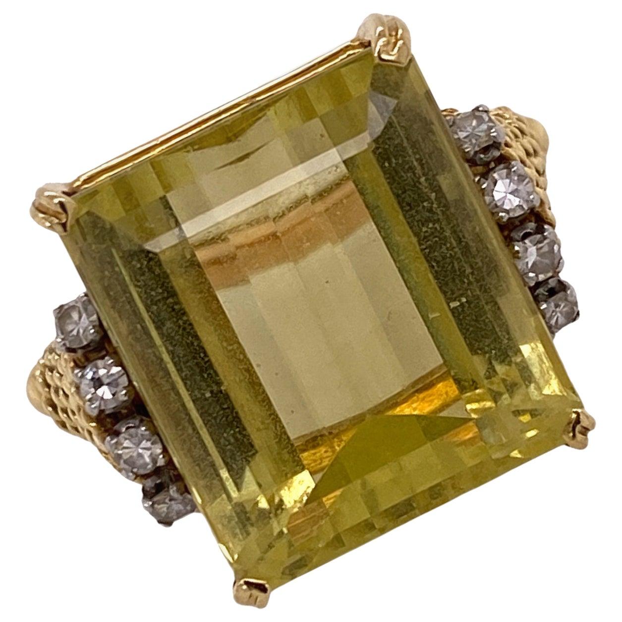 1970s Emerald Cut Lemon Citrine Diamond 18 Karat Yellow Gold Cocktail Ring