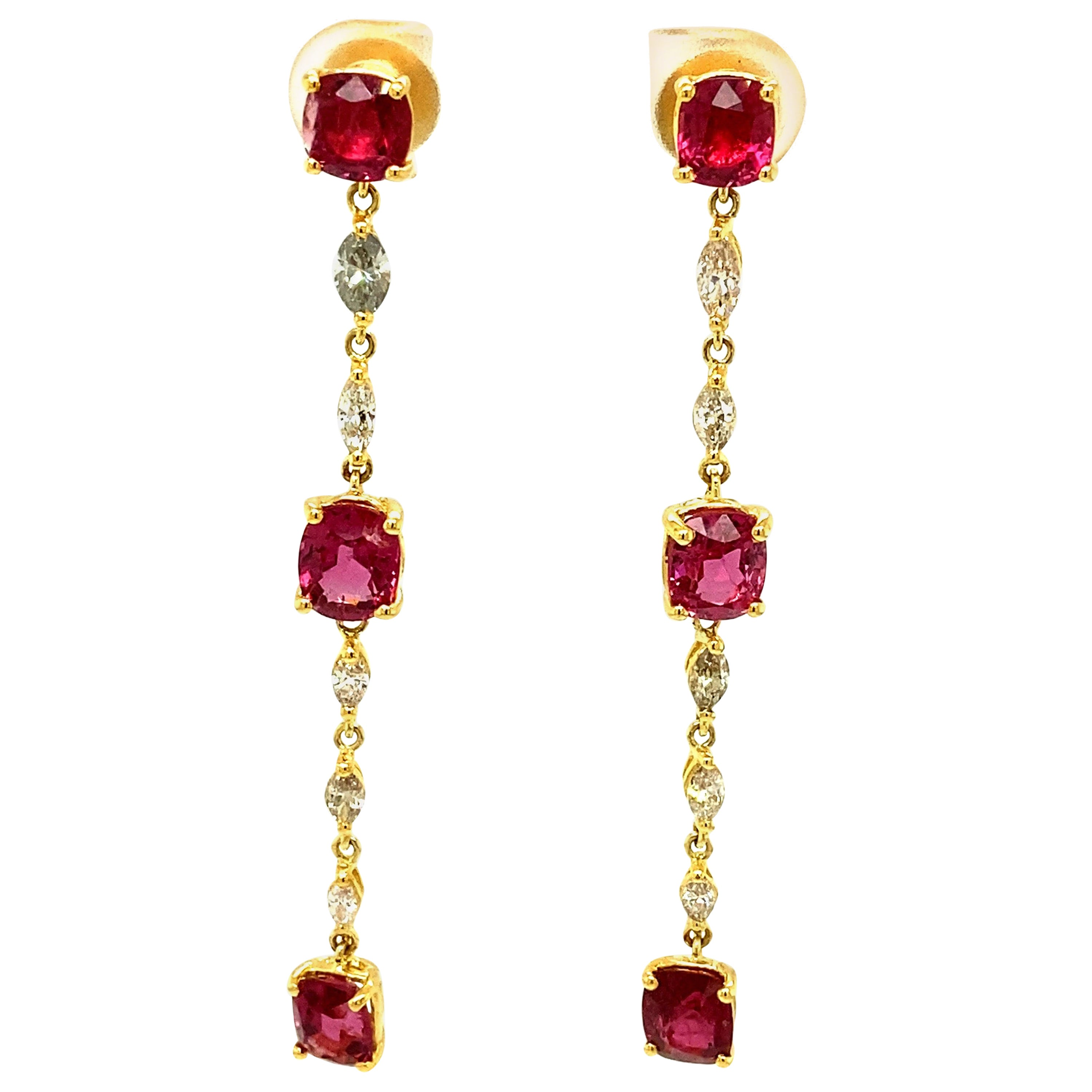8.8 Carat Unheated Burmese Neon Pink Spinels and Diamond Gold Dangle Earrings