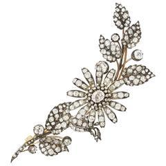 Victorian Diamond Silver Gold En Tremblant Floral Spray Brooch
