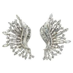 1960s Diamond Platinum Wing Shaped Earrings