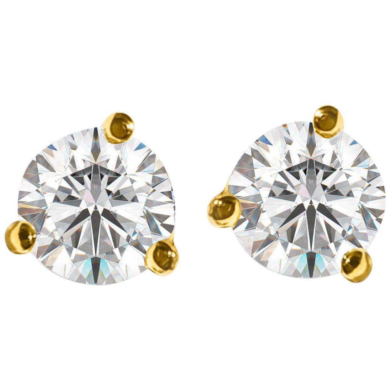 GIA Certified 1.20 Carat VVS Diamond Stud Earrings in 14 Karat Gold