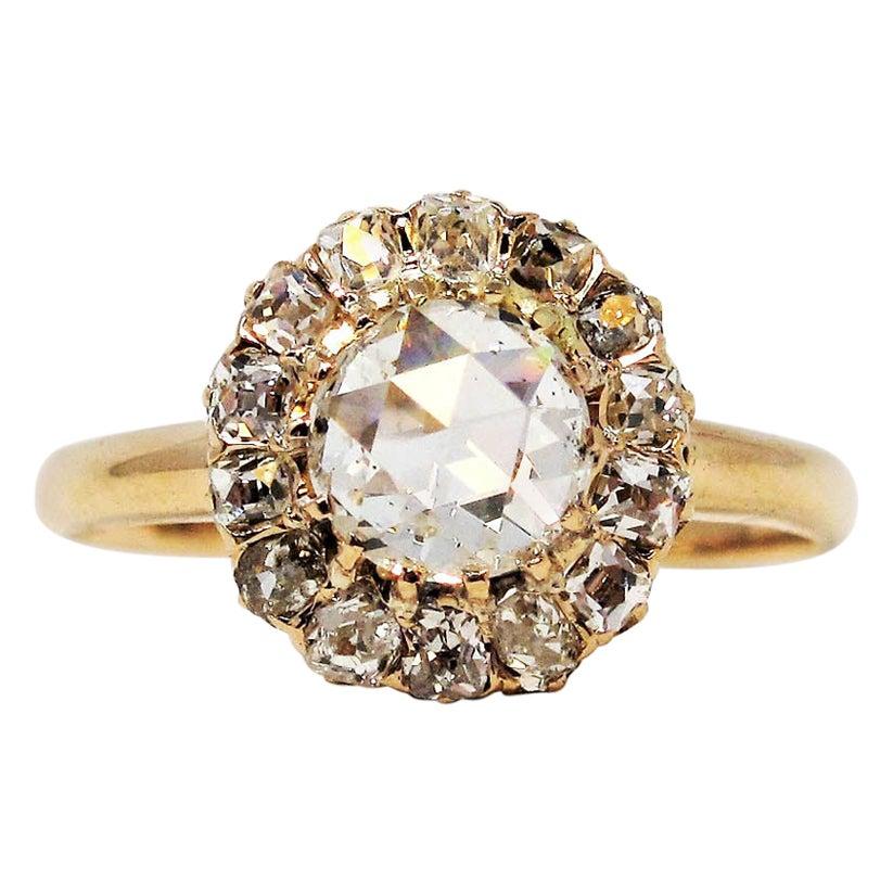 Antique Rose Cut Diamond Old Mine Halo Engagement Ring 14 Karat Rose Gold