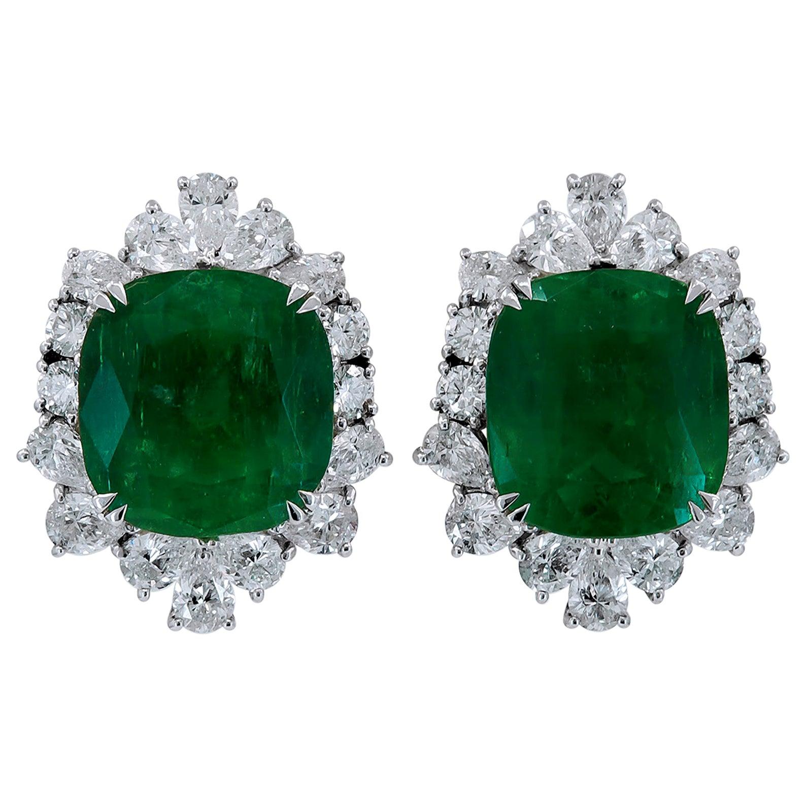 GIA Certified Colombian Emerald Diamond Earrings