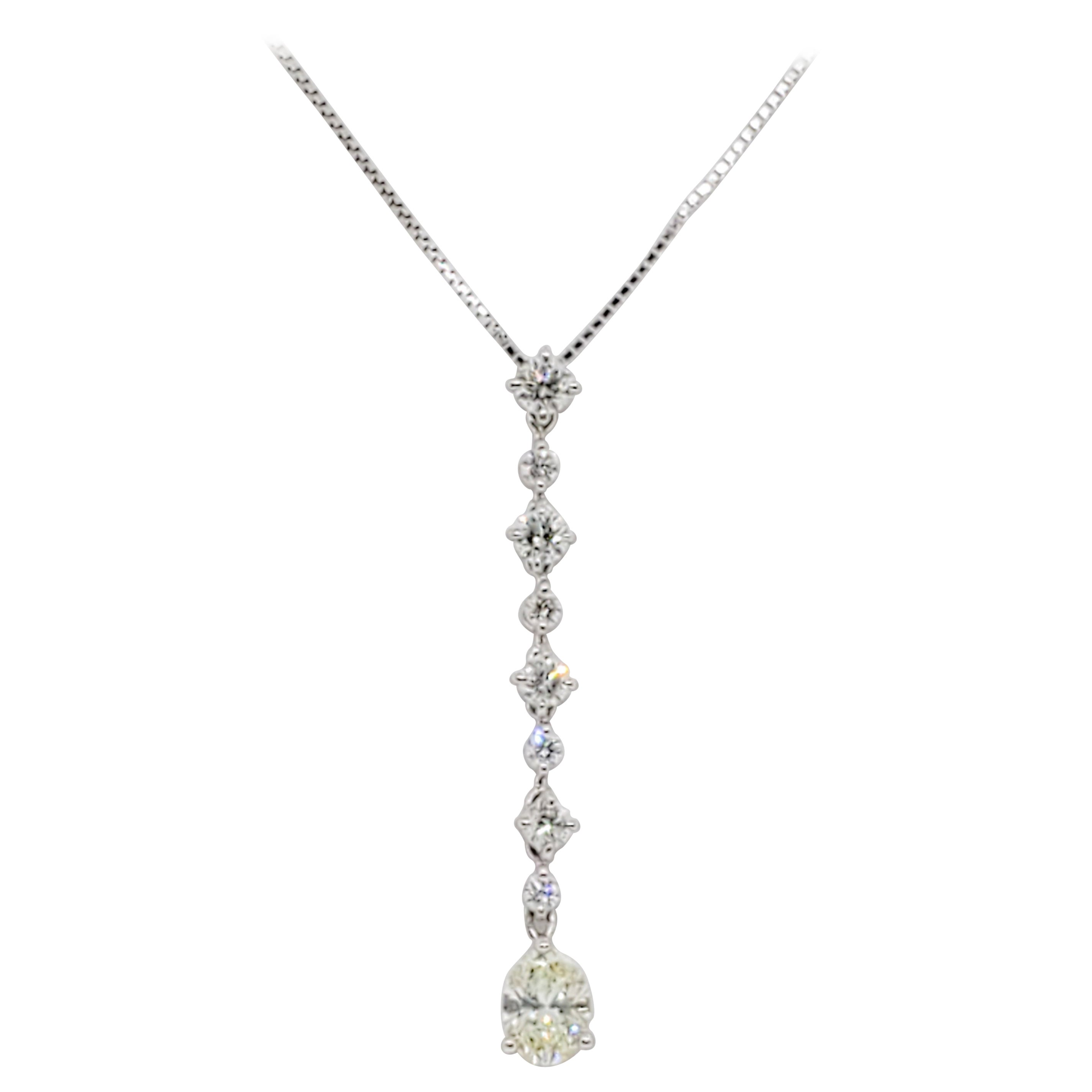 Estate White Diamond Oval Pendant Necklace in Platinum