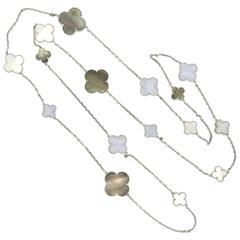 Van Cleef & Arpels Magic Alhambra Gold Mother of Pearl 16 Motifs Long Necklace