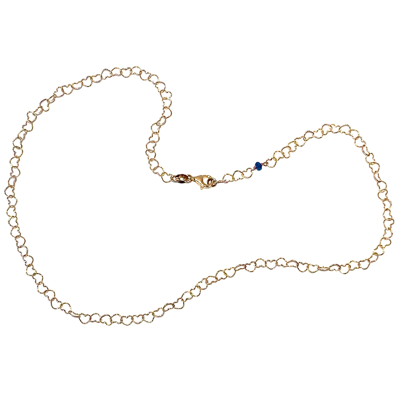 """Romantic Style 18Karat Yellow Gold 0.51Karat Sapphire """"Little Hearts"""" Necklace"""