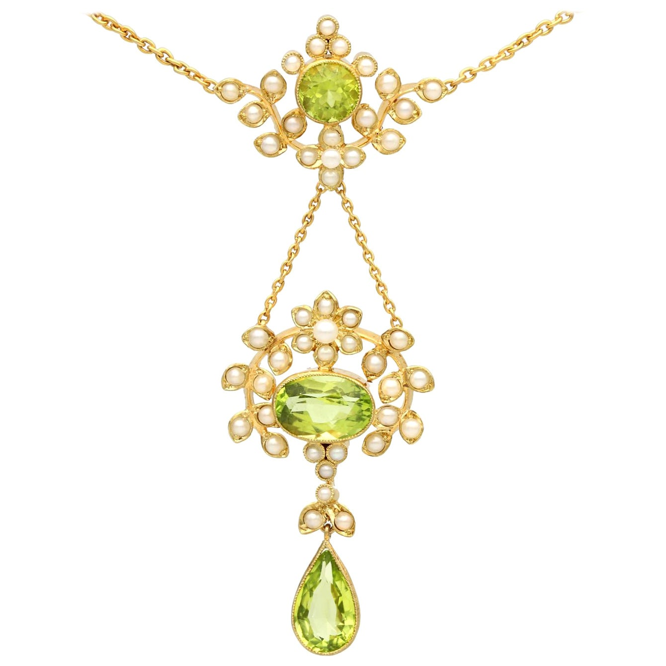1920s Antique 3.43 Carat Peridot and Seed Pearl Yellow Gold Necklace