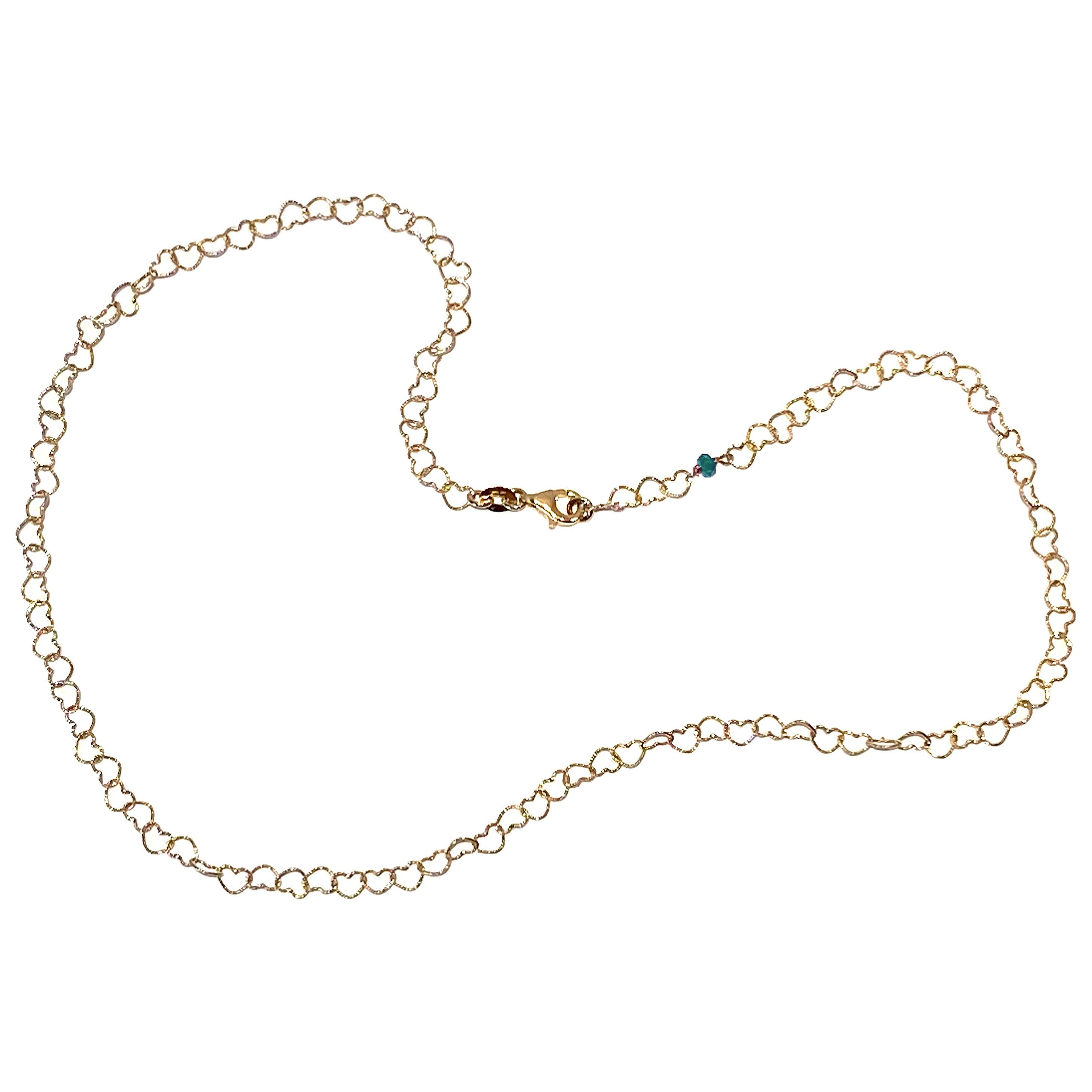 "Romantic Style 18 Karat Yellow Gold 0.50Karat Emerald ""Little Hearts"" Necklace"