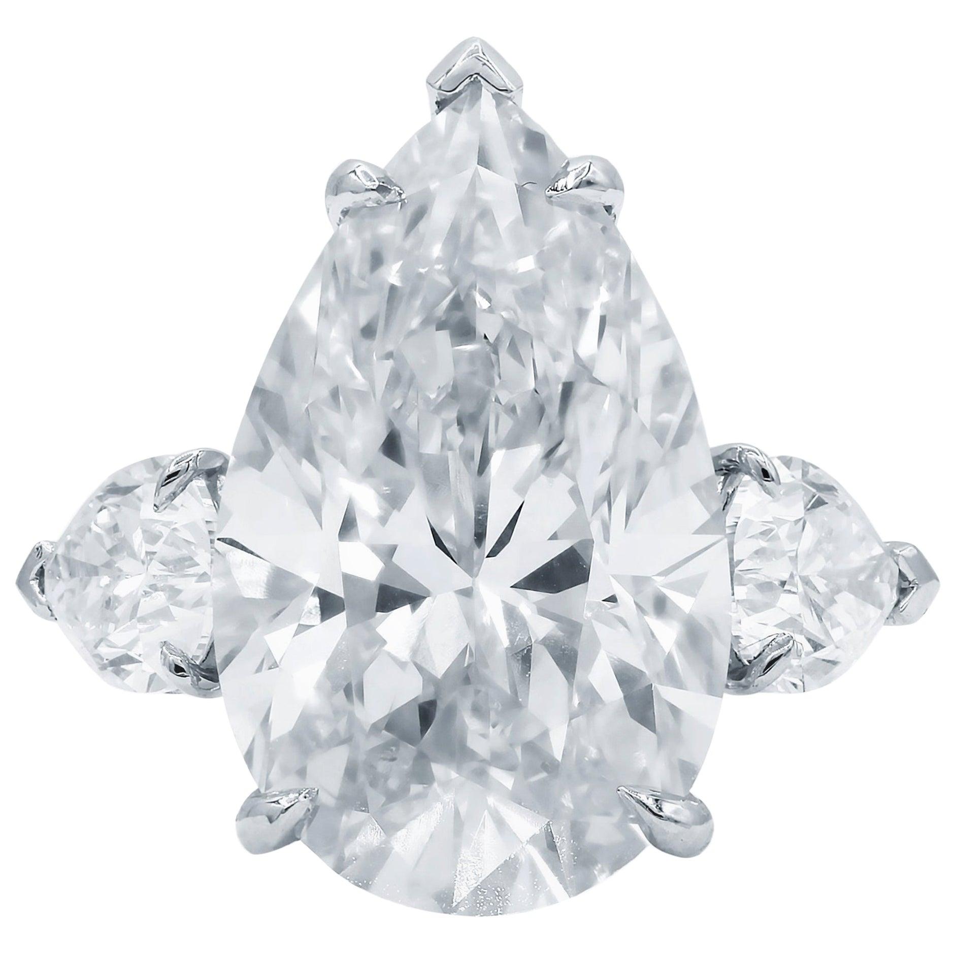 GIA Certified 4.50 Carat Pear Cut Diamond Platinum Ring G Color VVS2 Clarity