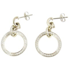 18 Karat White Gold and Diamond Hoop Earrings