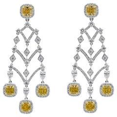 Roman Malakov 9.39 Carat Cushion Cut Yellow Diamond Halo Chandelier Earrings