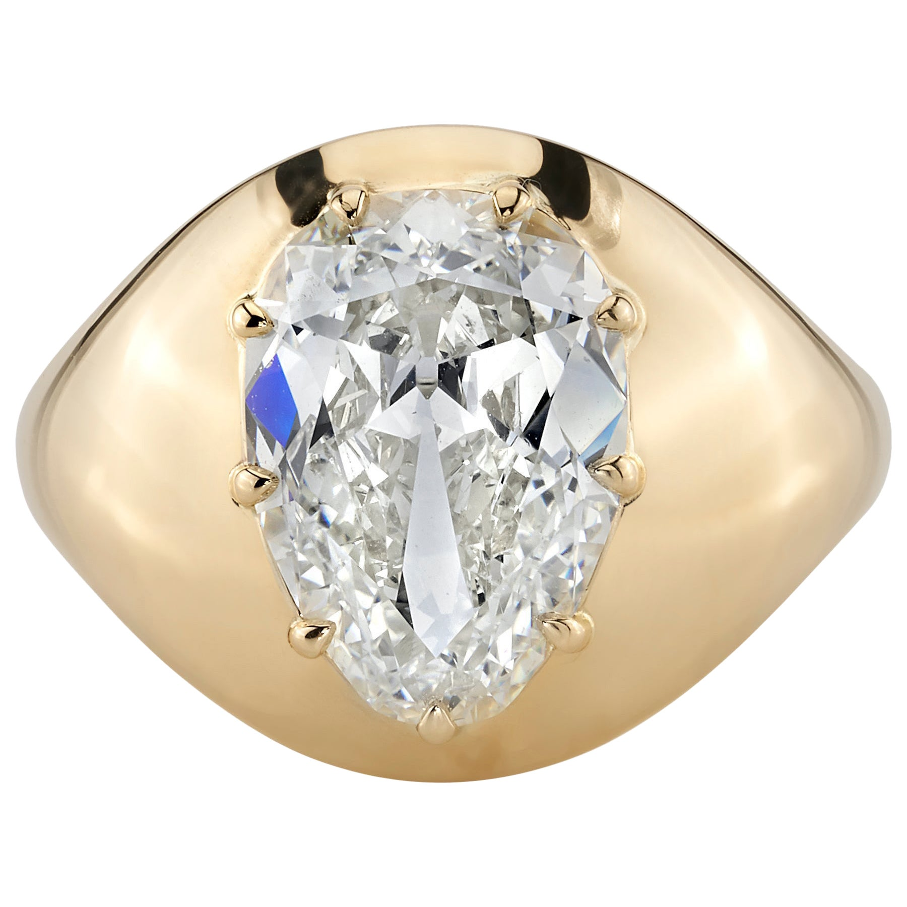 3.32 Carat Pear Shaped Diamond Set in a Handcrafted 18 Karat Yellow Gold Ring.