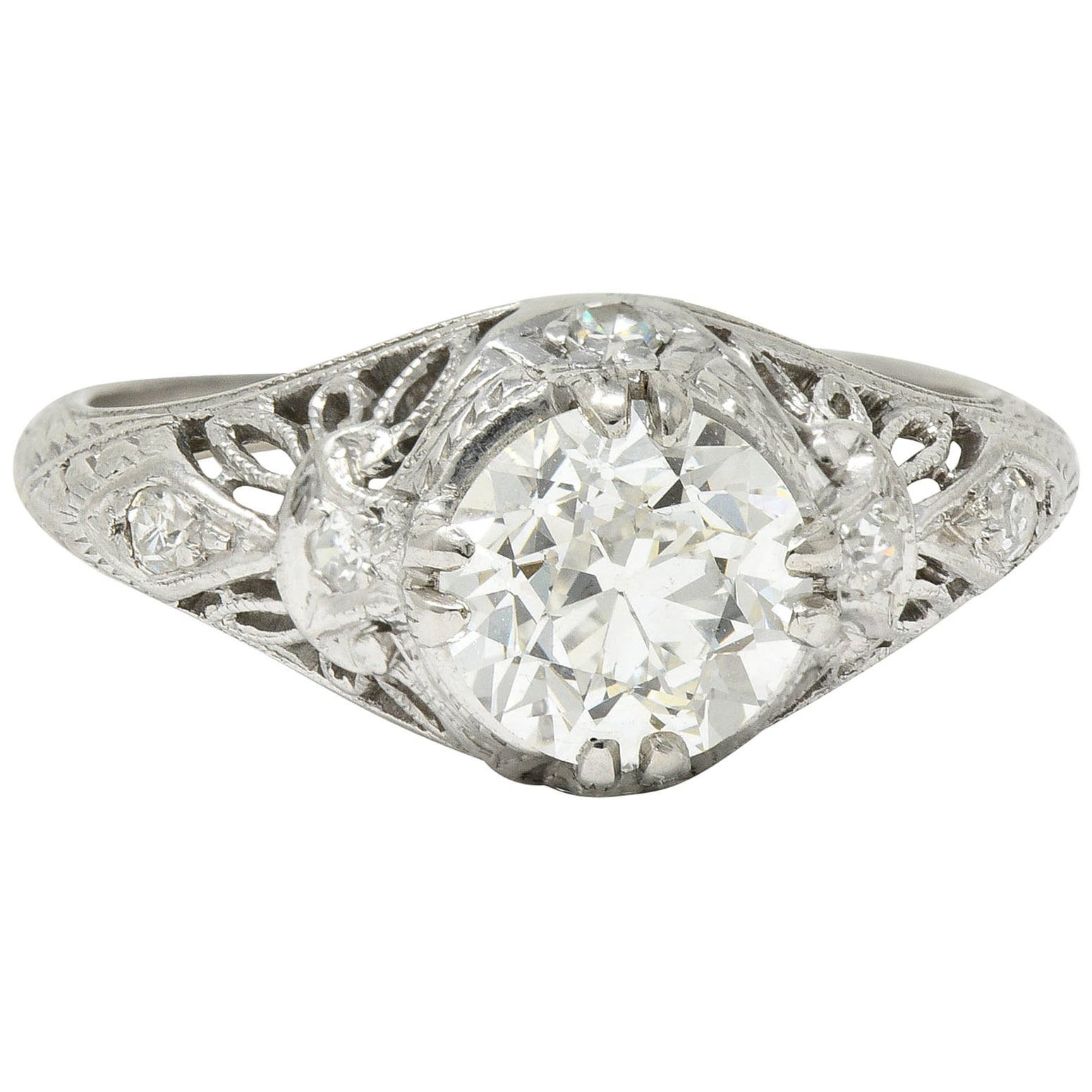 Edwardian 1.04 Carat Diamond Platinum Engagement Ring GIA