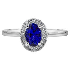 Roman Malakov 0.76 Carat Blue Sapphire and Diamond Halo Engagement Ring
