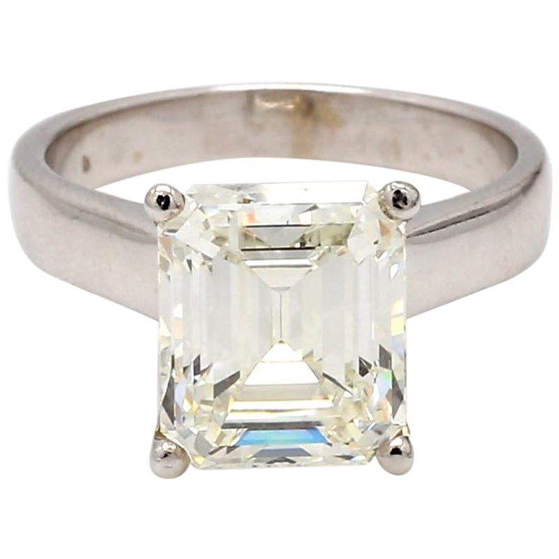 5.22 Carat J VVS2 Emerald Cut Diamond Ring, GIA Certified