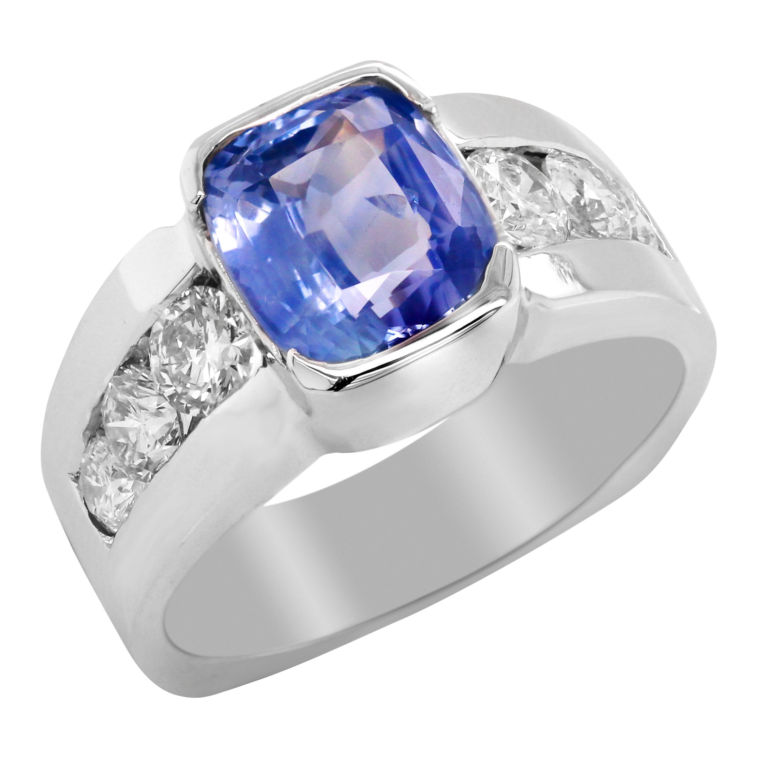 5.21 Carat Cushion Cut No Heat Ceylon Blue Sapphire Diamond 14 Karat Gold Ring