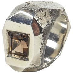 Jean Grisoni Oxydised Silver Ring with Quartz Square Quartz Stone
