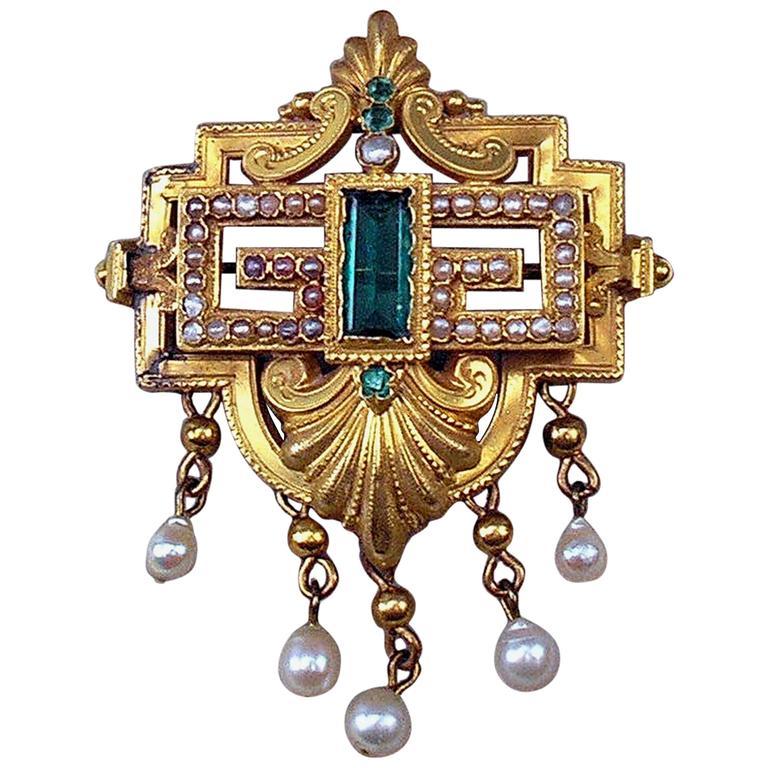 BIEDERMEIER BROOCH GOLD EMERALDS PEARLS IN ORIGINAL CASE AUSTRIA  c.1850 1