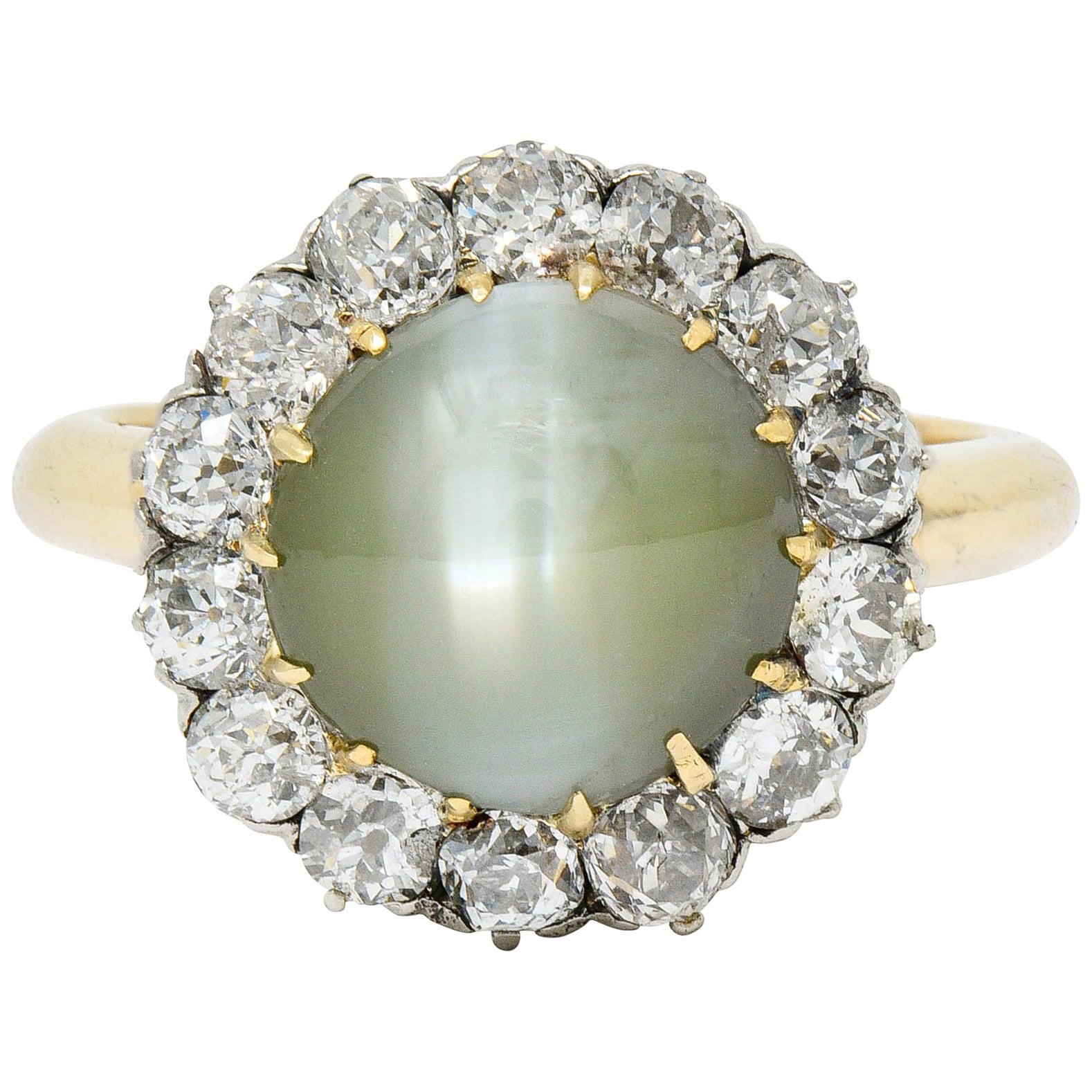 Edwardian Cat's Eye Chrysoberyl Diamond Platinum Cluster Ring
